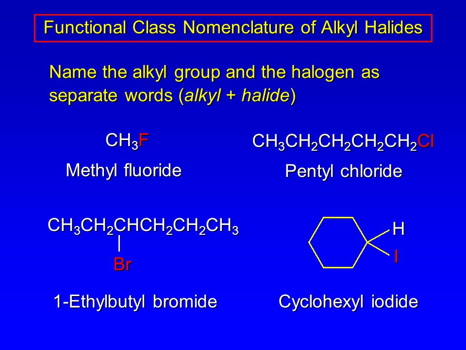 Name the alkyl group and the halogen as separate words (alkyl + halide) Functional Class Nomenclature of Alkyl Halides CH 3 F CH 3 CH 2 CH 2 CH 2 CH 2