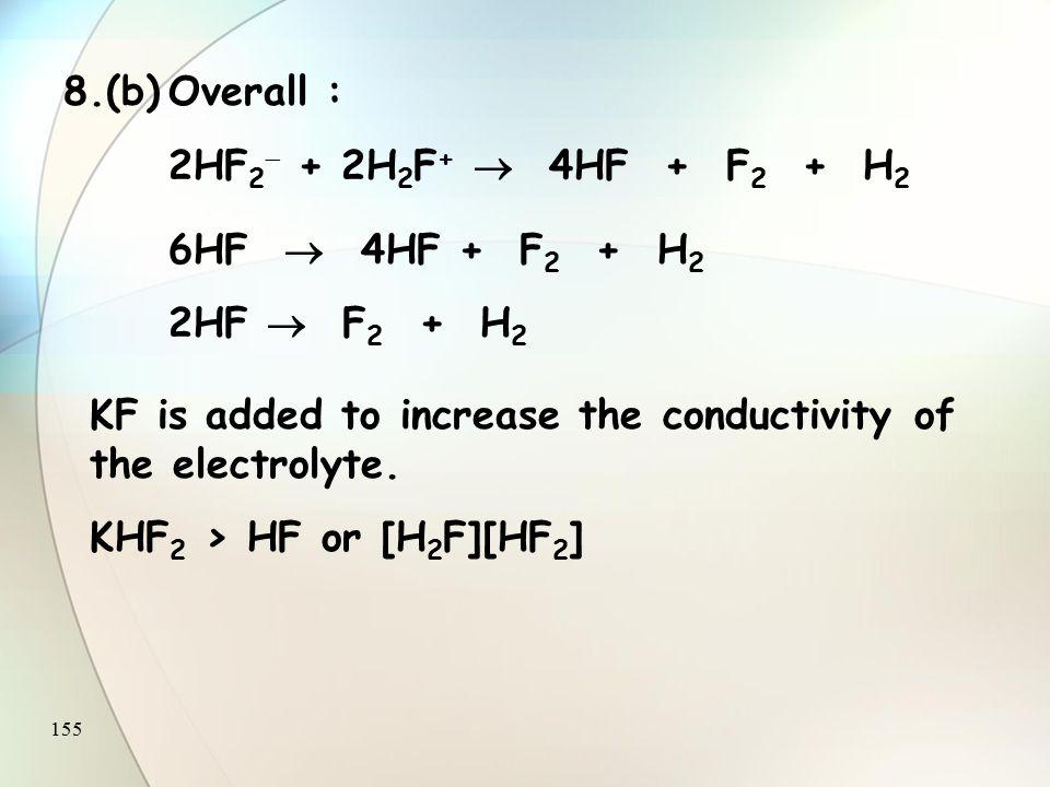 154 Q.8(a) Anode : 2HF 2   2HF + F 2 + 2e  Cathode : 2H 2 F + + 2e   2HF + H 2 Overall : 2HF 2  + 2H 2 F +  4HF + F 2 + H 2