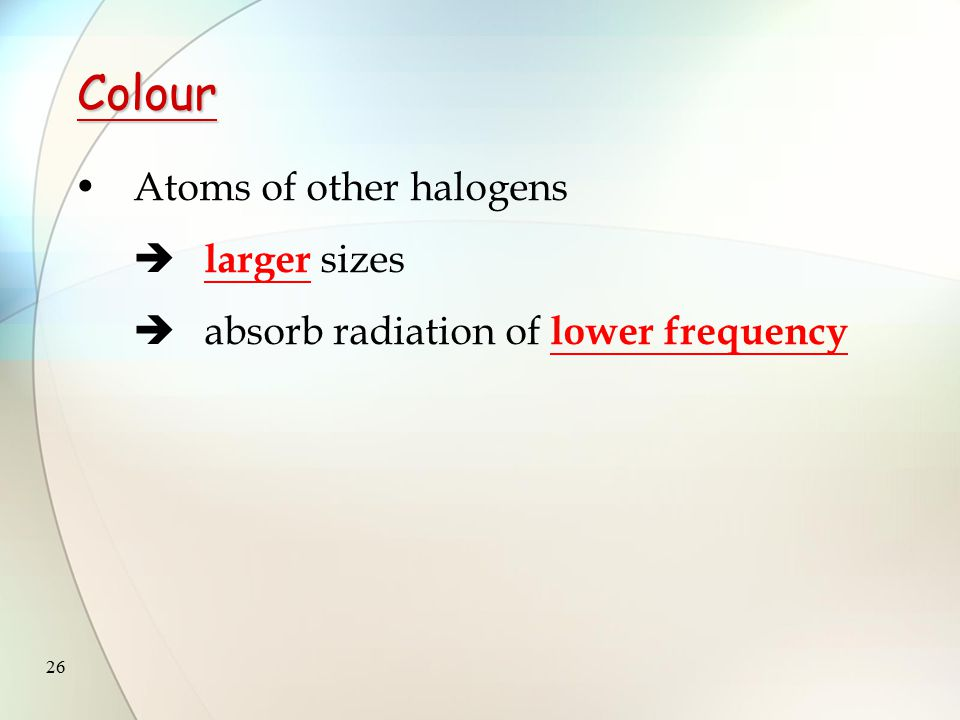 25 Colour Fluorine atom  has the smallest size  absorbs the radiation of relatively high frequency (i.e.