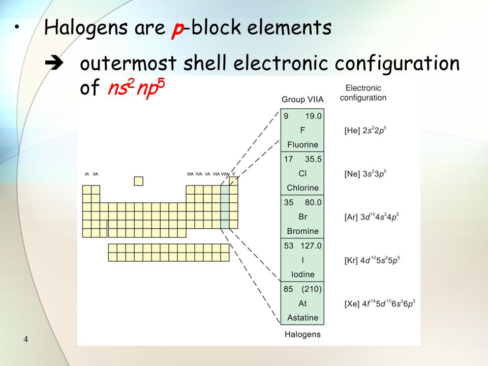 4 Halogens are p-block elements  outermost shell electronic configuration of ns 2 np 5