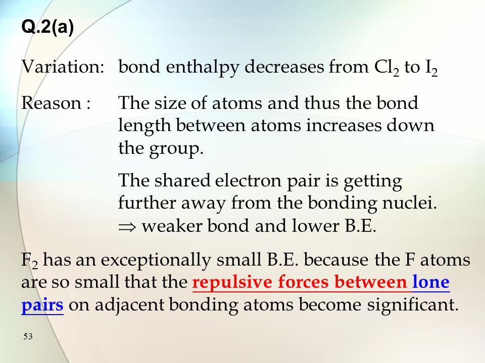 52 Na(s) + X 2 NaX(s) Na + (g) + X(g) Na + (g) + X 2 (g) I.E. B.E. Na + (g) + X  (g) E.A. Lattice enthalpy : NaBr > NaI