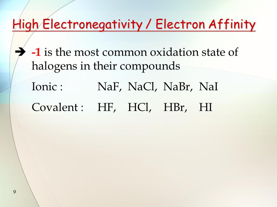9  -1 is the most common oxidation state of halogens in their compounds Ionic : NaF, NaCl, NaBr, NaI Covalent :HF, HCl, HBr, HI High Electronegativity / Electron Affinity