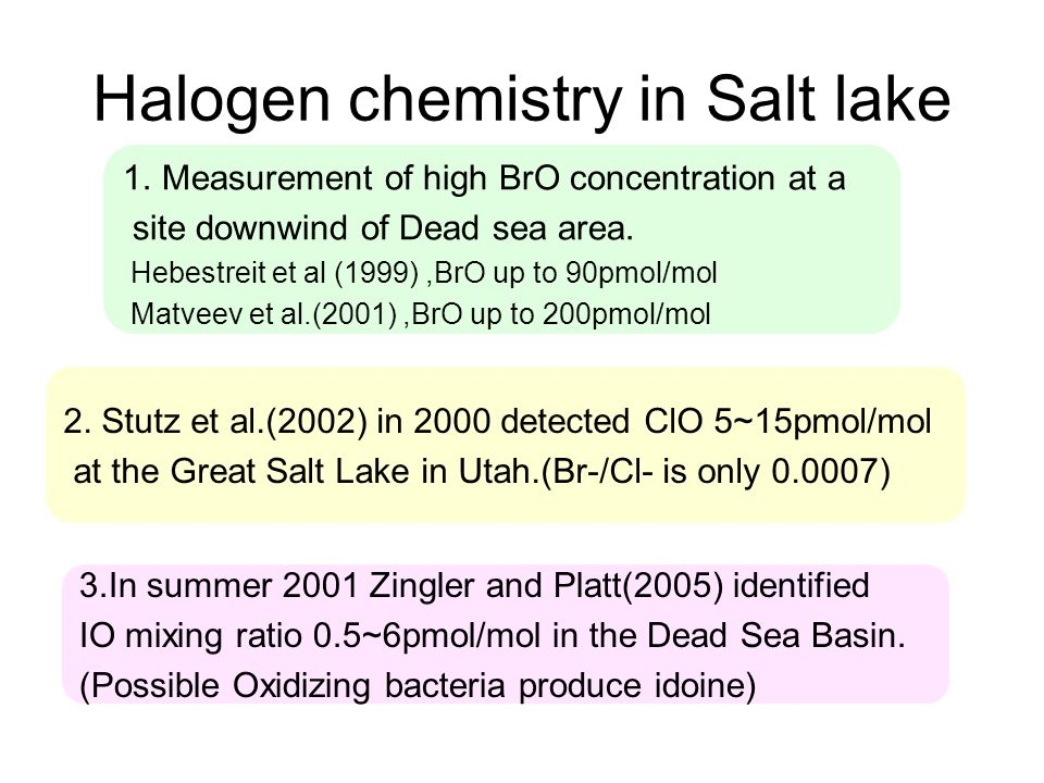 Halogen chemistry in Salt lake 1.Measurement of high BrO concentration at a site downwind of Dead sea area.
