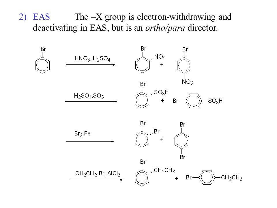 2)EASThe –X group is electron-withdrawing and deactivating in EAS, but is an ortho/para director.