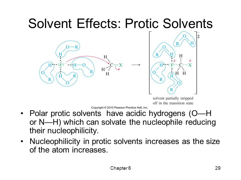 Chapter 629 Solvent Effects: Protic Solvents Polar protic solvents have acidic hydrogens (O—H or N—H) which can solvate the nucleophile reducing their
