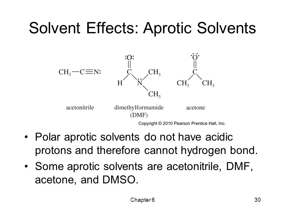 Chapter 630 Solvent Effects: Aprotic Solvents Polar aprotic solvents do not have acidic protons and therefore cannot hydrogen bond. Some aprotic solve