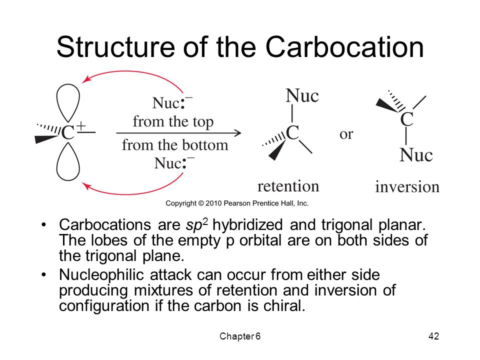 Chapter 642 Structure of the Carbocation Carbocations are sp 2 hybridized and trigonal planar. The lobes of the empty p orbital are on both sides of t
