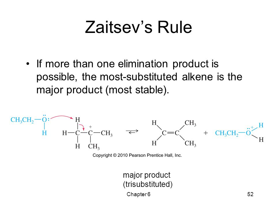 Chapter 652 Zaitsev's Rule If more than one elimination product is possible, the most-substituted alkene is the major product (most stable). major pro