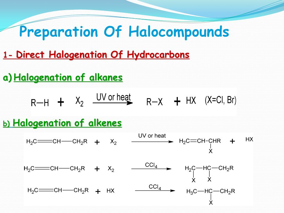 Preparation Of Halocompounds 1- Direct Halogenation Of Hydrocarbons a)Halogenation of alkanes b) Halogenation of alkenes