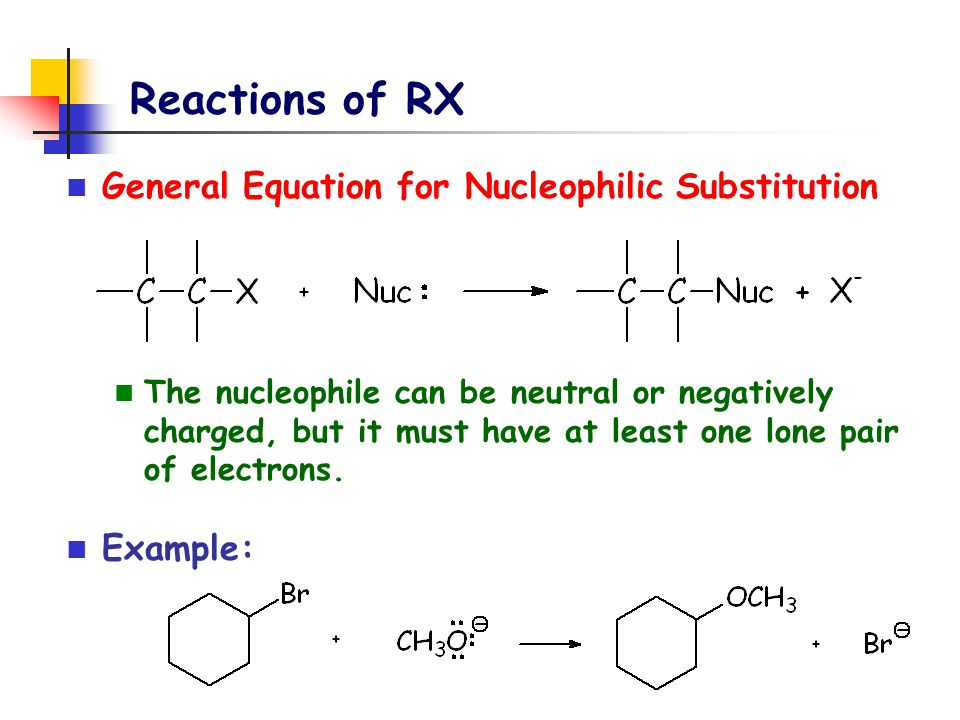 Reactions of RX General Equation for Nucleophilic Substitution The nucleophile can be neutral or negatively charged, but it must have at least one lon