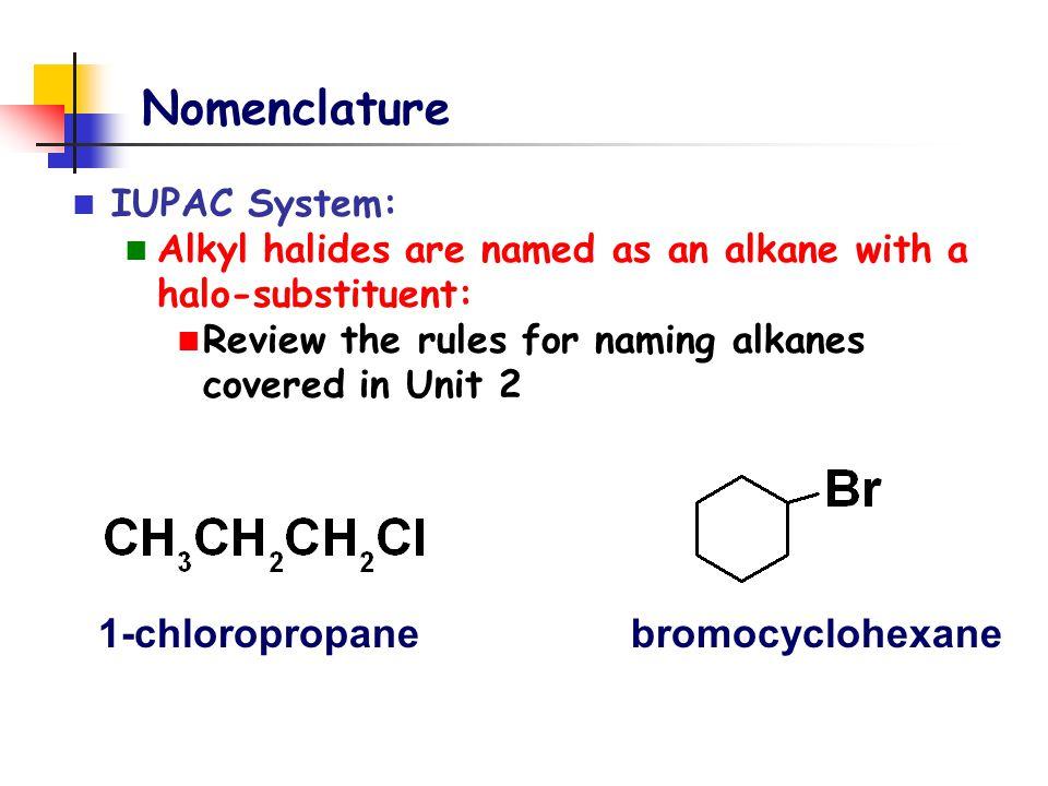 Nomenclature Common Names: alkyl group name + halide n-propyl chlorideCyclohexyl bromide