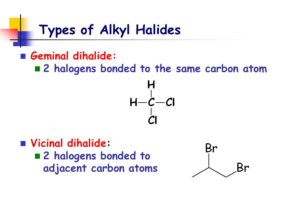 Other Organic Halides Aryl halide: halogen is attached directly to an aromatic ring Benzylic halide halogen is attached to a carbon that is attached to a benzene ring thyroxine benzylic carbon benzylic chloride