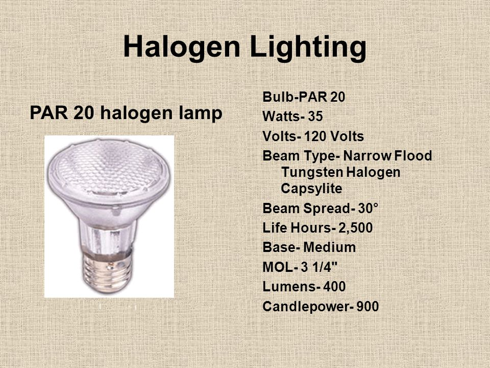 Halogen Lighting Bulb-PAR 20 Watts- 35 Volts- 120 Volts Beam Type- Narrow Flood Tungsten Halogen Capsylite Beam Spread- 30° Life Hours- 2,500 Base- Me