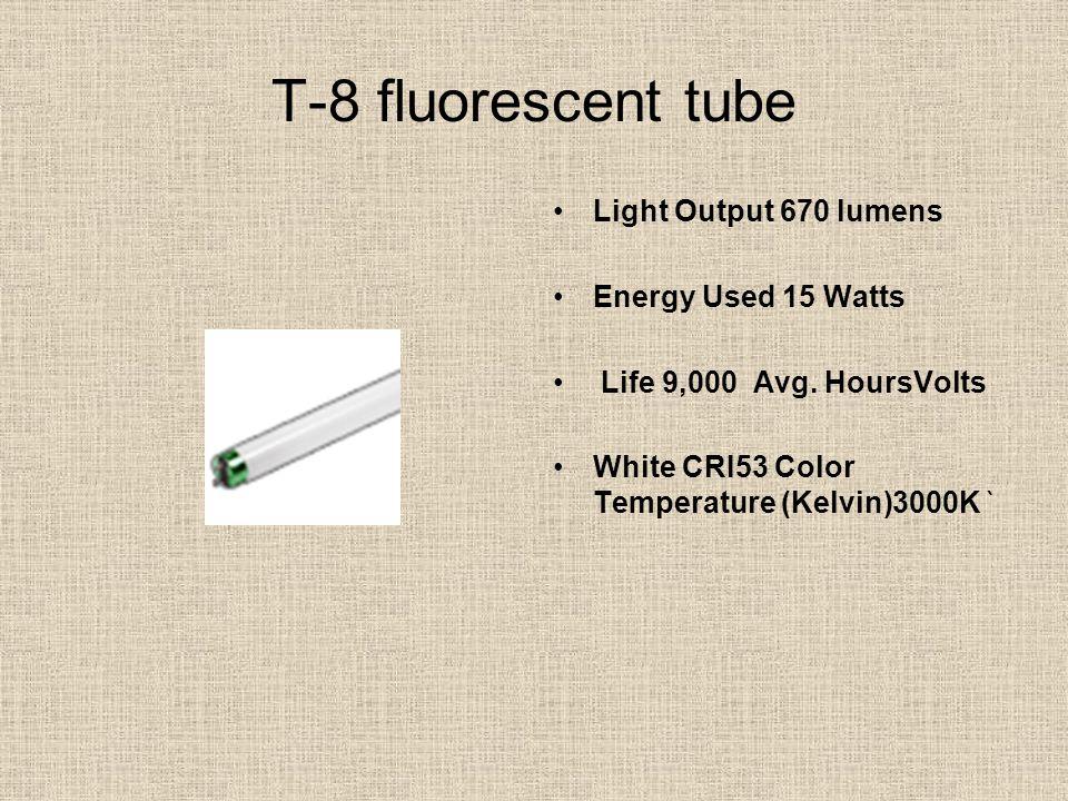 T-8 fluorescent tube Light Output 670 lumens Energy Used 15 Watts Life 9,000 Avg. HoursVolts White CRI53 Color Temperature (Kelvin)3000K `