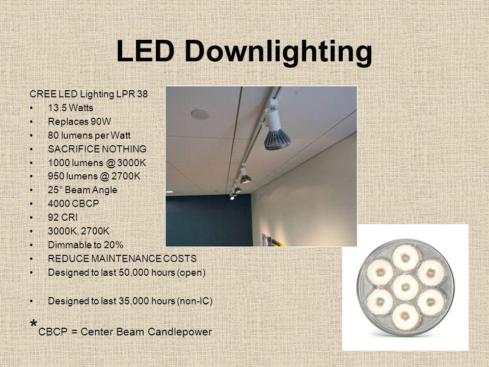 LED Downlighting CREE LED Lighting LPR 38 13.5 Watts Replaces 90W 80 lumens per Watt SACRIFICE NOTHING 1000 lumens @ 3000K 950 lumens @ 2700K 25° Beam