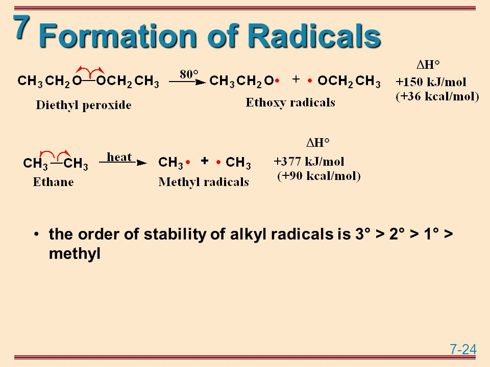 7-24 7 Formation of Radicals the order of stability of alkyl radicals is 3° > 2° > 1° > methyl