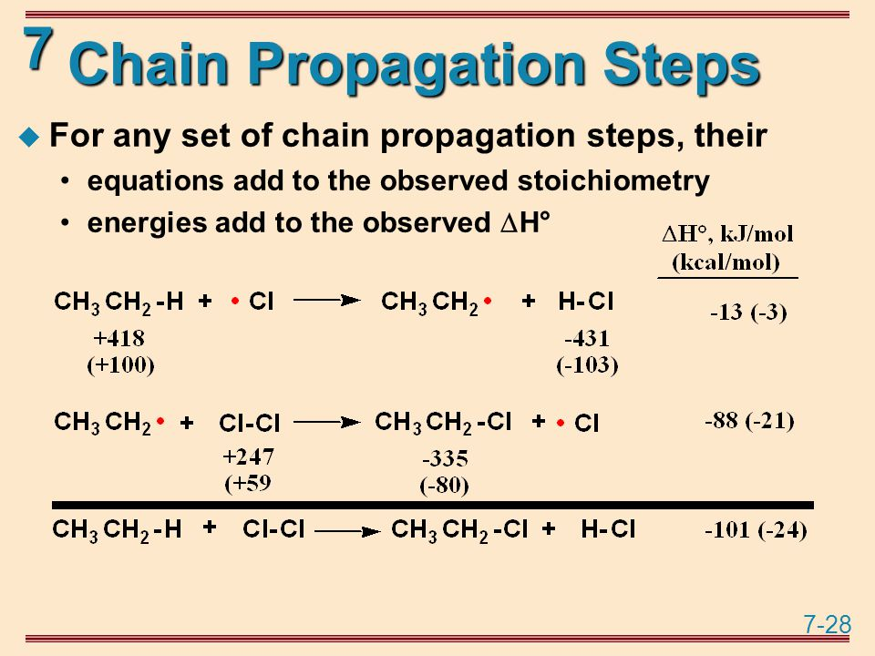 7-28 7 Chain Propagation Steps  For any set of chain propagation steps, their equations add to the observed stoichiometry energies add to the observed  H°