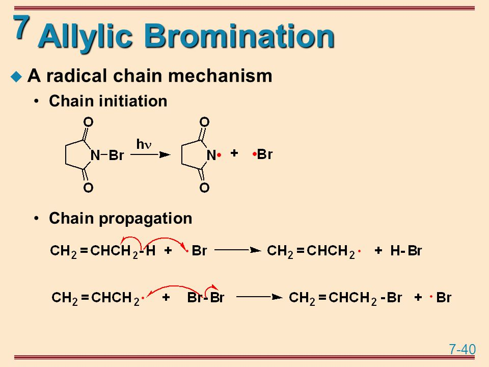 7-40 7 Allylic Bromination  A radical chain mechanism Chain initiation Chain propagation