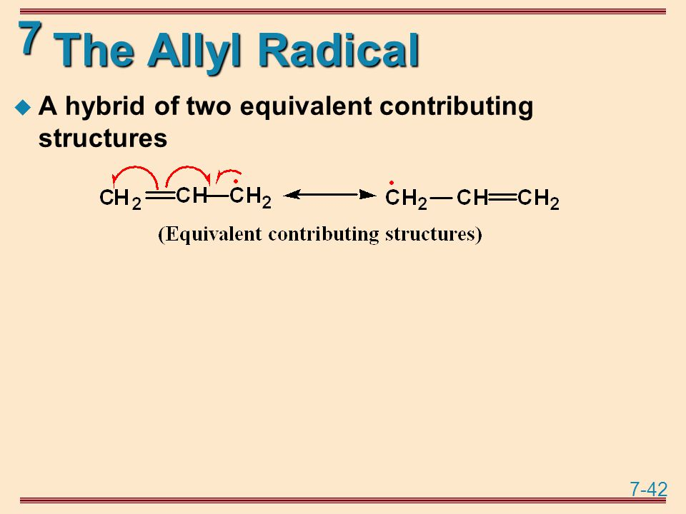 7-42 7 The Allyl Radical  A hybrid of two equivalent contributing structures