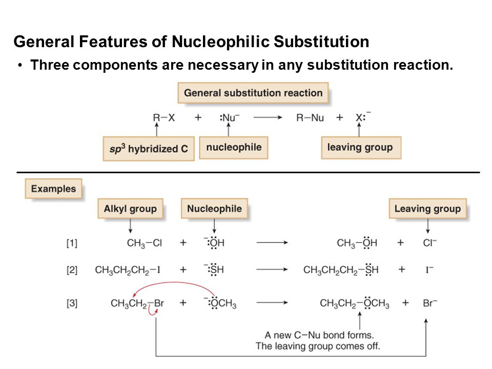 10 Three components are necessary in any substitution reaction. General Features of Nucleophilic Substitution