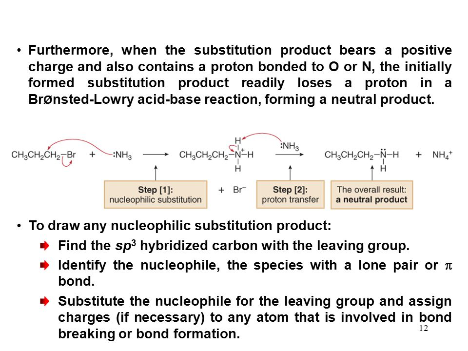 12 Furthermore, when the substitution product bears a positive charge and also contains a proton bonded to O or N, the initially formed substitution p