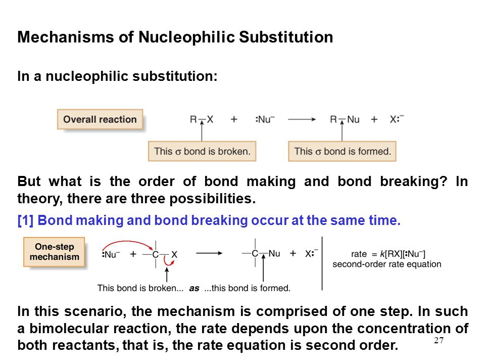 27 In a nucleophilic substitution: Mechanisms of Nucleophilic Substitution But what is the order of bond making and bond breaking? In theory, there ar