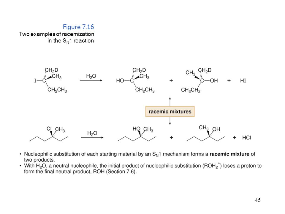 45 Figure 7.16 Two examples of racemization in the S N 1 reaction