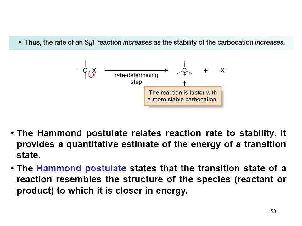 53 The Hammond postulate relates reaction rate to stability. It provides a quantitative estimate of the energy of a transition state. The Hammond post