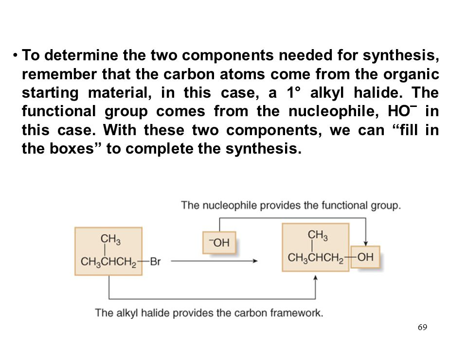 69 To determine the two components needed for synthesis, remember that the carbon atoms come from the organic starting material, in this case, a 1° al