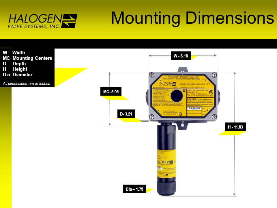 Mounting Dimensions D- 3.21 W - 6.18 MC- 5.05 H - 11.83 Dia – 1.75 W Width MC Mounting Centers D Depth H Height Dia Diameter All dimensions are in inches
