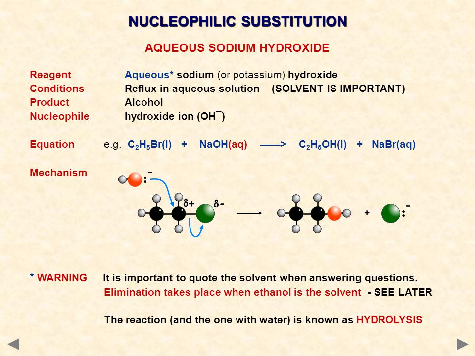 AQUEOUS SODIUM HYDROXIDE ReagentAqueous* sodium (or potassium) hydroxide ConditionsReflux in aqueous solution (SOLVENT IS IMPORTANT) ProductAlcohol Nu