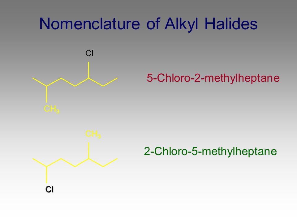 Nomenclature of Alkyl Halides 5-Chloro-2-methylheptane 2-Chloro-5-methylheptane CH 3 Cl Cl CH 3