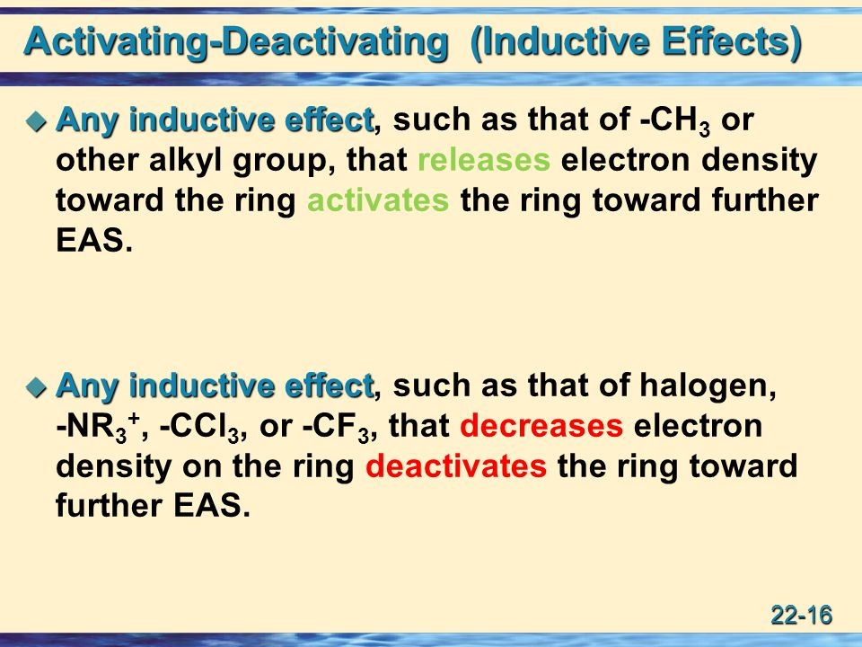 22-16 Activating-Deactivating (Inductive Effects)  Any inductive effect  Any inductive effect, such as that of -CH 3 or other alkyl group, that releases electron density toward the ring activates the ring toward further EAS.