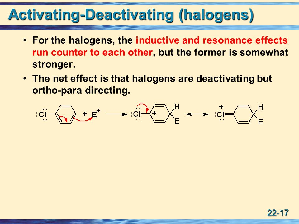 22-17 Activating-Deactivating (halogens) For the halogens, the inductive and resonance effects run counter to each other, but the former is somewhat stronger.