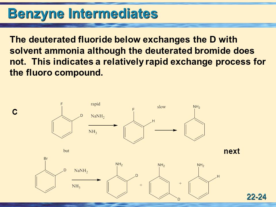 22-24 Benzyne Intermediates C next The deuterated fluoride below exchanges the D with solvent ammonia although the deuterated bromide does not.