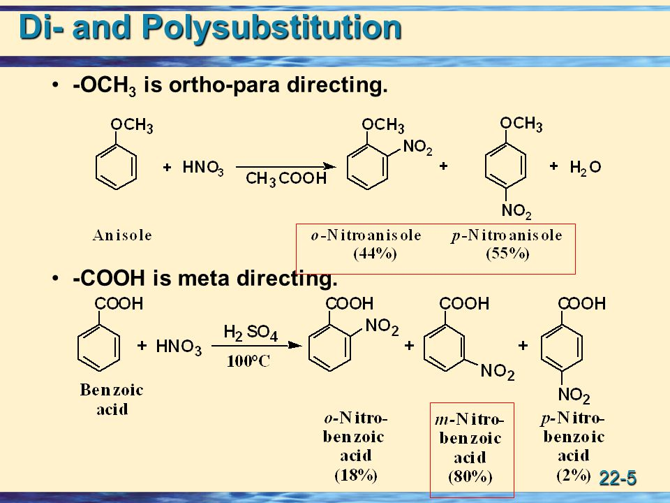 22-5 Di- and Polysubstitution -OCH 3 is ortho-para directing. -COOH is meta directing.