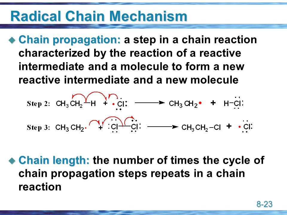 8-23 Radical Chain Mechanism  Chain propagation:  Chain propagation: a step in a chain reaction characterized by the reaction of a reactive intermediate and a molecule to form a new reactive intermediate and a new molecule  Chain length:  Chain length: the number of times the cycle of chain propagation steps repeats in a chain reaction