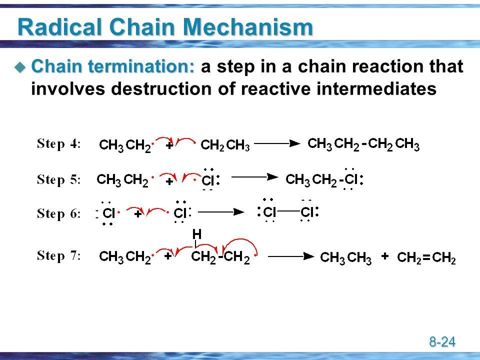 8-24 Radical Chain Mechanism  Chain termination:  Chain termination: a step in a chain reaction that involves destruction of reactive intermediates