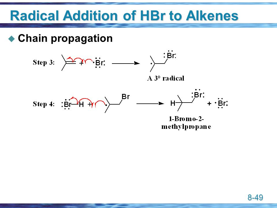 8-49 Radical Addition of HBr to Alkenes  Chain propagation