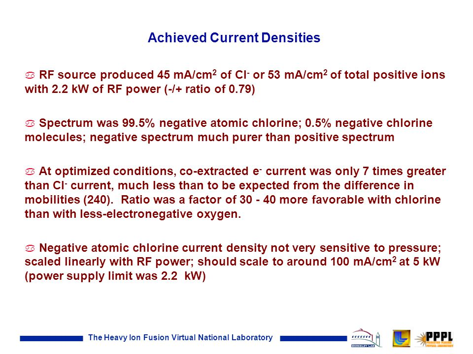 The Heavy Ion Fusion Virtual National Laboratory Achieved Current Densities a RF source produced 45 mA/cm 2 of Cl - or 53 mA/cm 2 of total positive ions with 2.2 kW of RF power (-/+ ratio of 0.79) a Spectrum was 99.5% negative atomic chlorine; 0.5% negative chlorine molecules; negative spectrum much purer than positive spectrum a At optimized conditions, co-extracted e - current was only 7 times greater than Cl - current, much less than to be expected from the difference in mobilities (240).