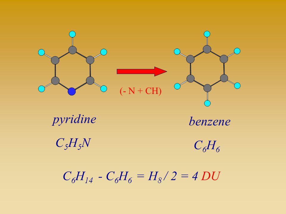 pyridine C5H5NC5H5N benzene C6H6C6H6 (- N + CH) C 6 H 14 - C 6 H 6 =H 8 / 2 = 4 DU