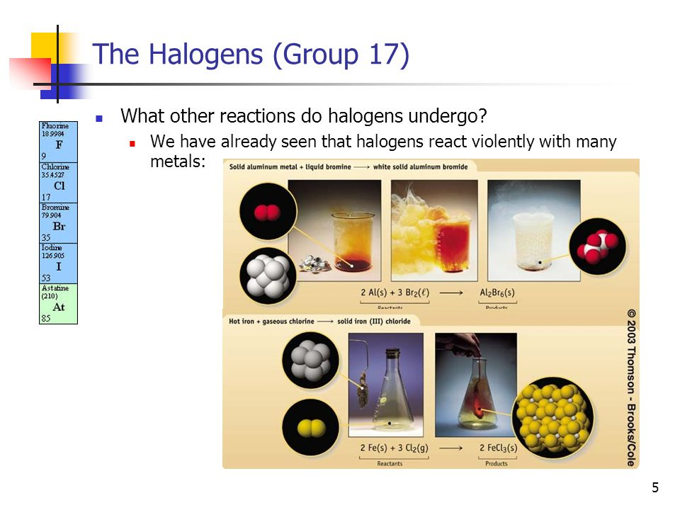 6 The Halogens (Group 17) Halogens react with phosphorus (P 4 ) to give PX 3 or PX 5 (depending on the ratio of reactants).* Halogens react with sulfur (S 8 ) to give S 2 X 2 or SX 6 (depending on the ratio of reactants).
