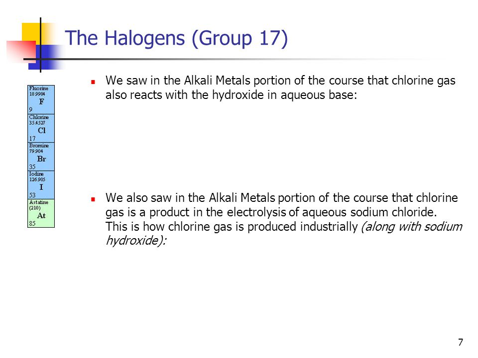 7 The Halogens (Group 17) We saw in the Alkali Metals portion of the course that chlorine gas also reacts with the hydroxide in aqueous base: We also saw in the Alkali Metals portion of the course that chlorine gas is a product in the electrolysis of aqueous sodium chloride.