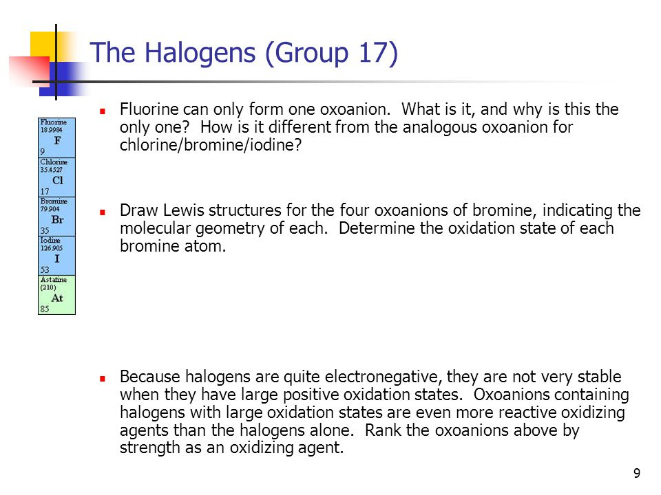 10 The Halogens (Group 17) The name of an oxoanion depends on how many oxygen atoms surround the central atom.