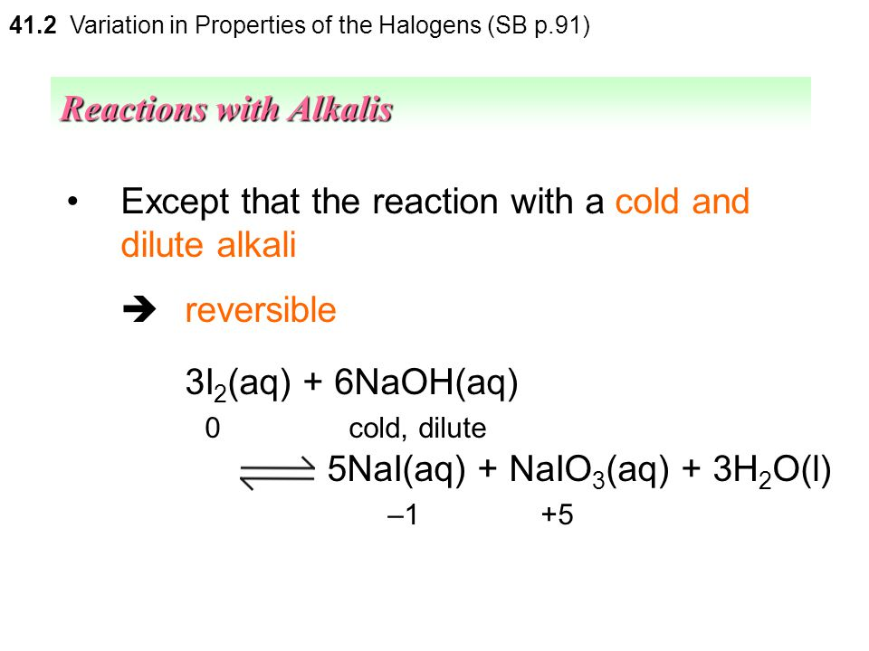Iodine  behaves similarly as bromine Reactions with Alkalis 41.2 Variation in Properties of the Halogens (SB p.91)