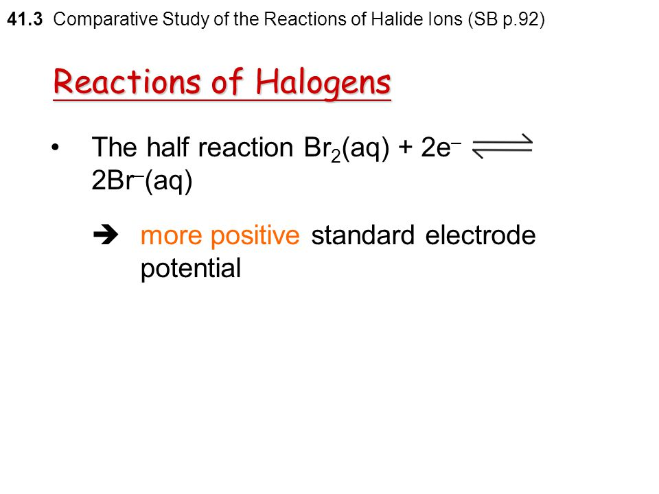 Reactions of Halogens Considered as the combination of the following two equilibria competing with one another: 41.3 Comparative Study of the Reaction
