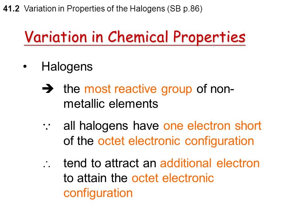 41.2 Variation in Properties of the Halogens (SB p.86) Check Point 41-2A Check Point 41-2A