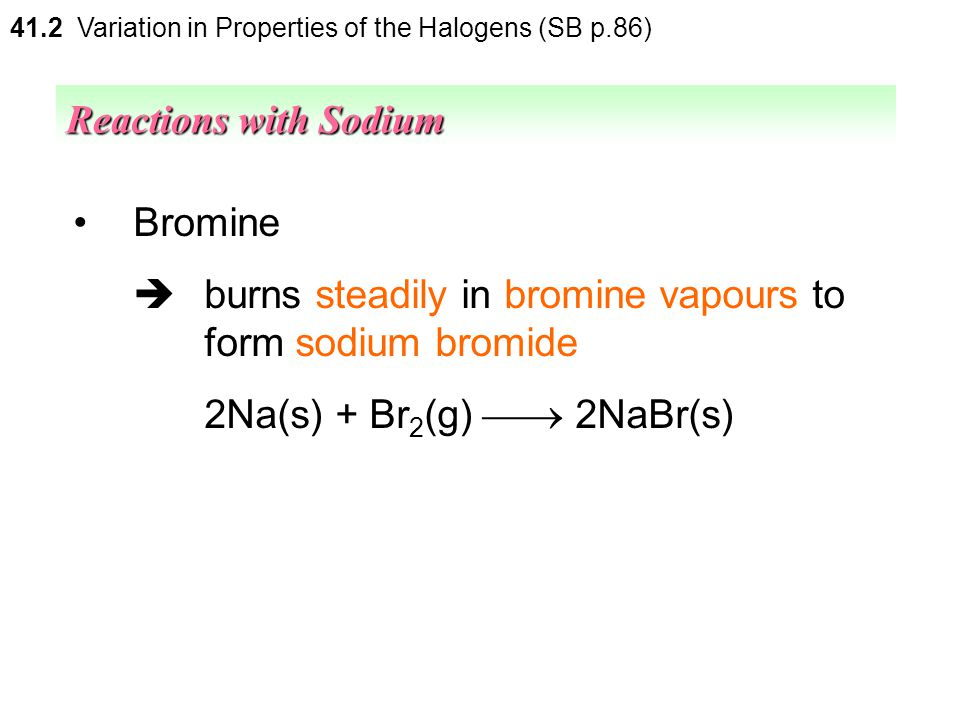 41.2 Variation in Properties of the Halogens (SB p.86) Chlorine  react violently to form sodium chloride 2Na(s) + Cl 2 (g)  2NaCl(s) Reactions with
