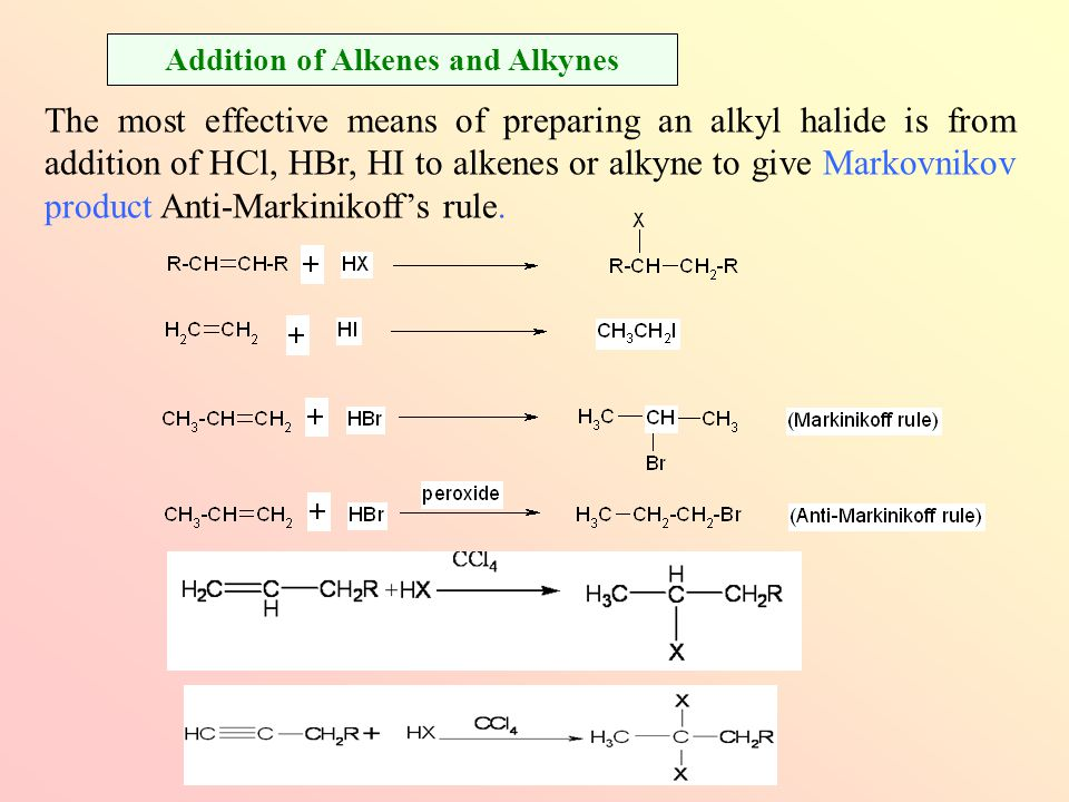 Preparation of Halogeno-compounds Addition of Alkenes and Alkynes Alkyl dihalides are prepared from anti addition of bromine (Br 2 ) or chlorine (Cl 2 ) (addition of halogen)