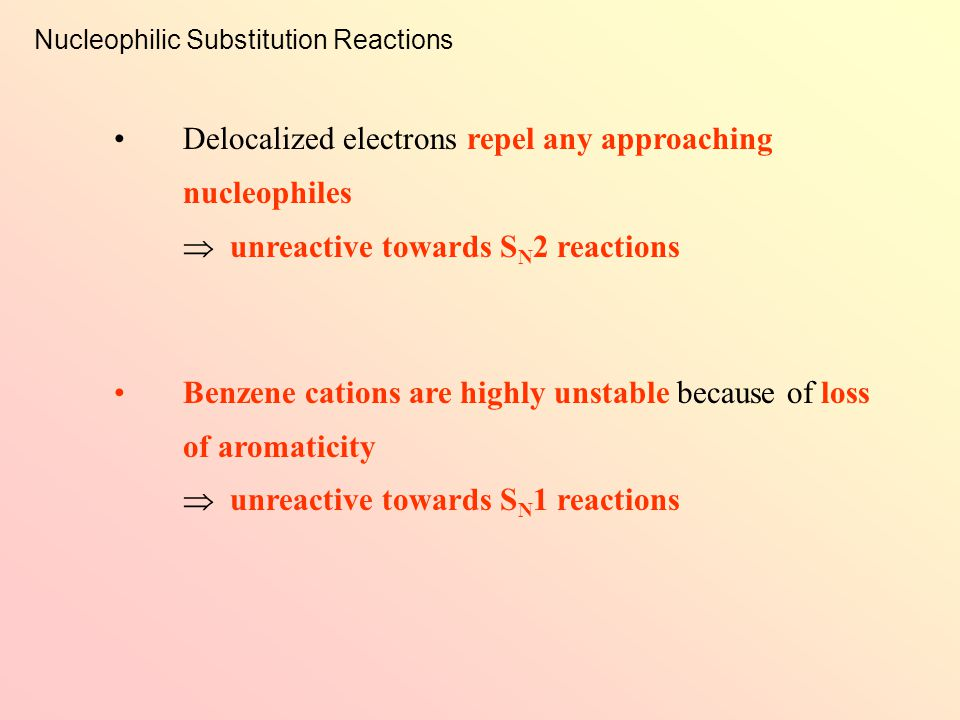 Nucleophilic Substitution Reactions Halobenzenes are comparatively unreactive to nucleophilic substitution reactions ∵ the p orbital on the carbon atom of the benzene ring and that on the halogen atom overlap side-by-side to form a delocalized  bonding system Unreactivity of Halobenzene